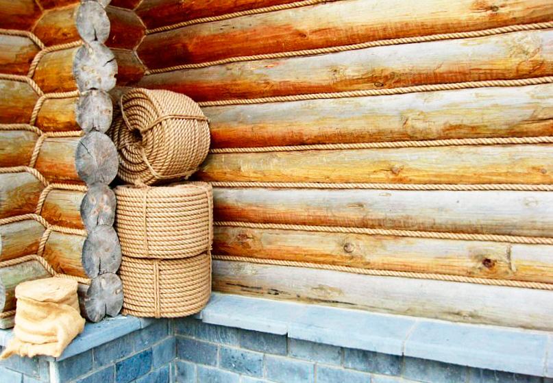 Как крепить джутовый канат к деревянному срубу?